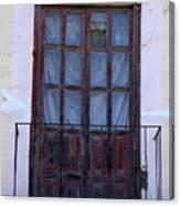 Weathered Red Wood Door Canvas Print