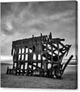 Weathered Rusting Shipwreck In Black And White Canvas Print