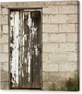 Weathered White Wood Door Canvas Print