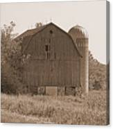 Weathered Wisconsin Barn In Sepia Canvas Print