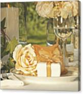 Wedding Party Favors On Plate At Reception Canvas Print