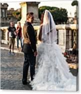 Wedding Stroll On The Ponte Sant'angelo Canvas Print