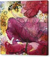 Wee Bees And Poppies Canvas Print