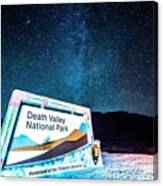 Welcome Sign To Death Valley National Park California At Night Canvas Print