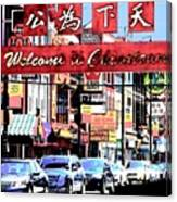 Welcome To Chinatown Sign Red Canvas Print