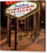 R.i.p. Welcome To Downtown Las Vegas Sign At Night Canvas Print