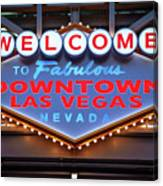 Welcome To Downtown Las Vegas Sign Slotzilla Canvas Print