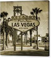 Welcome To Las Vegas Series Sepia Grunge Canvas Print