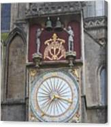Wells Cathedral Outside Clock Canvas Print