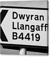 Welsh Rural Roadsign For B Road On Anglesey Wales Uk Canvas Print