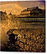 West Pier Splash Canvas Print