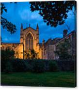 West Side Of Hexham Abbey At Night Canvas Print