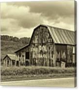 West Virginia Barn Sepia Canvas Print