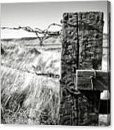 Western Barbed Wire Fence Black And White Canvas Print