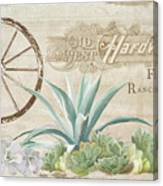 Western Range 4 Old West Desert Cactus Farm Ranch  Wooden Sign Hardware Canvas Print