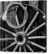 Western Rope And Wooden Wheel In Black And White Canvas Print