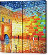 Western Wall Jerusalem Wailing Wall Acrylic Painting 2 Panels Canvas Print
