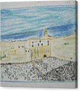 Western Wall.holly Land.color Pencils 1990 Canvas Print