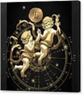 Western Zodiac - Golden Gemini - The Twins On Black Canvas Canvas Print