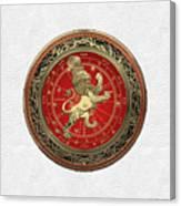 Western Zodiac - Golden Leo - The Lion On White Leather Canvas Print