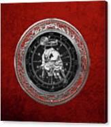 Western Zodiac - Silver Taurus - The Bull On Red Velvet Canvas Print