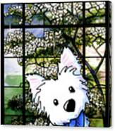 Westie At Dogwood Window Canvas Print