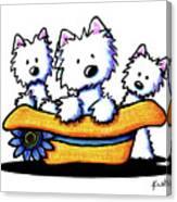 Westie Hat Trio Canvas Print