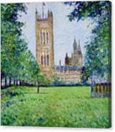 Westminster Abbey From Abbey Grounds London England 2003  Canvas Print