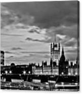 Westminster Black And White Canvas Print