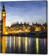 Westminster Bridge And Big Ben Art Canvas Print