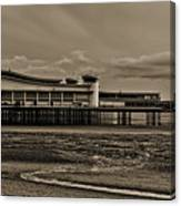 Weston  Super Mare   Outflow  Pier  Black  White Canvas Print