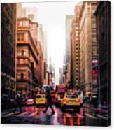 Wet Streets Of New York City Canvas Print