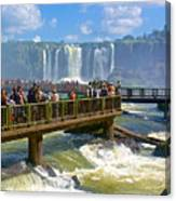 Wet Walkways In The Iguazu River In Iguazu Falls National Park-brazil  Canvas Print