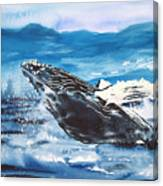Whale Breaching Canvas Print