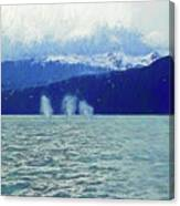 Whales Blowing Canvas Print