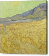 Wheat Field With Reaper At Wheat Fields Van Gogh Series, By Vincent Van Gogh Canvas Print