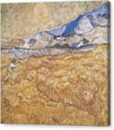 Wheat Field With Reaper Harvest In Provence Canvas Print
