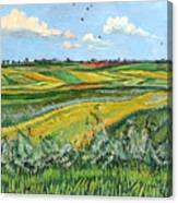 Wheat Fields And Clouds Canvas Print