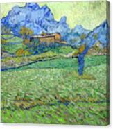Wheat Fields In A Mountainous Landscape, By Vincent Van Gogh, 18 Canvas Print