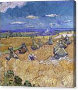 Wheat Fields With Reaper, Auvers Canvas Print