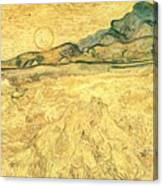 Wheatfield With Reaper And Sun Canvas Print