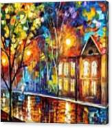 When The City Sleeps 2 - Palette Knife Oil Painting On Canvas By Leonid Afremov Canvas Print