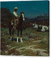 While Trail-weary Cattle Are Sleeping  Canvas Print