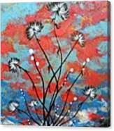 Whimsical Abstract Flower Artwork Running Wild Canvas Print
