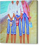 Whimsical Beach Women - The Treasure Hunters Canvas Print