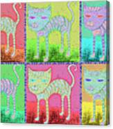Whimsical Colorful Tabby Cat Pop Art Canvas Print