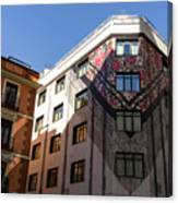 Whimsical Madrid - A Building Draped In Traditional Spanish Mantilla Canvas Print