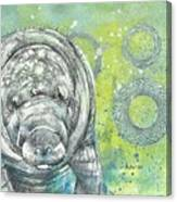 Whimsical Manatee Canvas Print