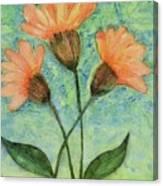 Whimsical Orange Flowers - Canvas Print