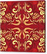 Whimsical Organic Pattern In Yellow And Red I Canvas Print